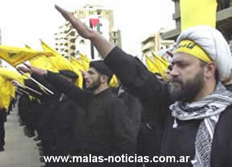 Des terroristes du Hezbollah au Liban en salut hitlérien nazi