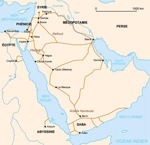 Routes commerciales terrestres des Nabatéens