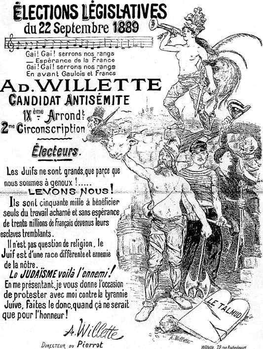 Affiche d'un parti antisemite de 1889